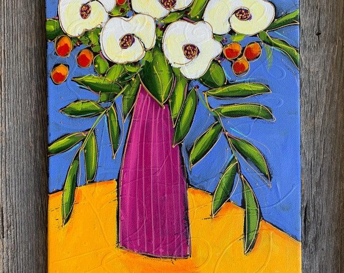 Original acrylic painting on canvas pink white flower vase