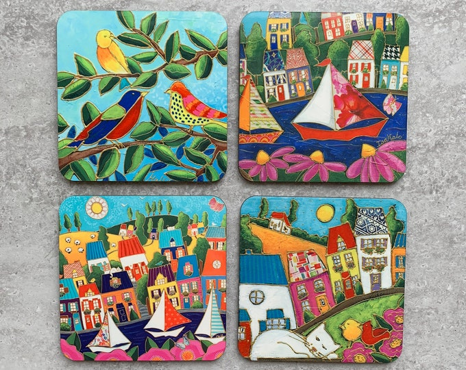 Coasters, Set of Coasters, Countryside Landscape, colourful houses, birds, cat, gift coaster kitchen