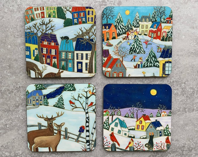 Coasters, Set of 4 Coasters, Colourful Winter scene Landscape, Colourful houses, Deer, bird, cat, skating, Christmas coaster gift
