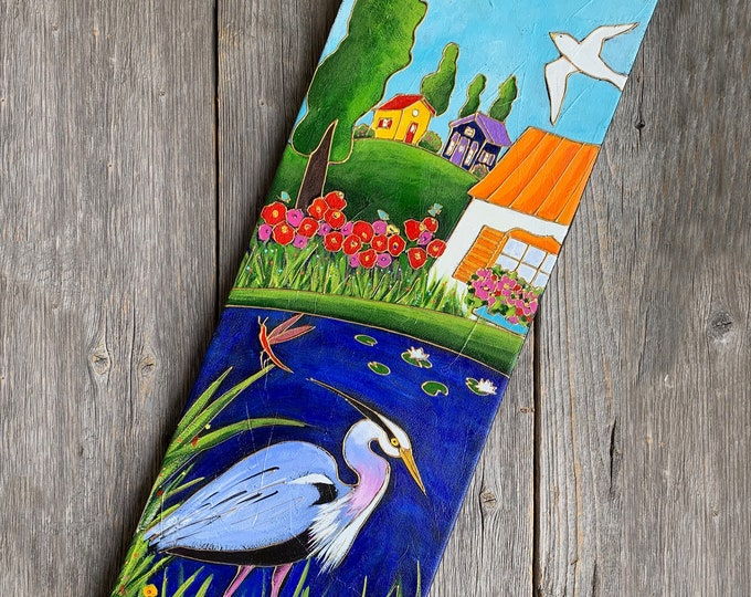 Original acrylic painting on canvas, Great blue Heron, red dragonfly, colourful houses landscape , whimsical art, folk art lover