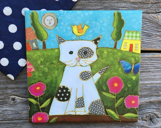 Ceramic tile Coaster, CAT, White Cat, pink flowers, Landscape, bird, square trivet, art print tile, cat lover gift, Wall art frame