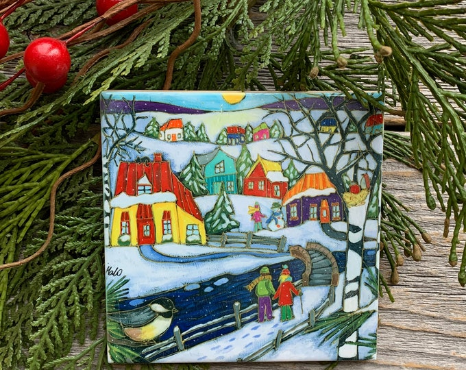 Coaster, Ceramic tile wall Art, Winter scene landscape, Colourful houses, couple, birds,  4 x 4, wall art ceramic