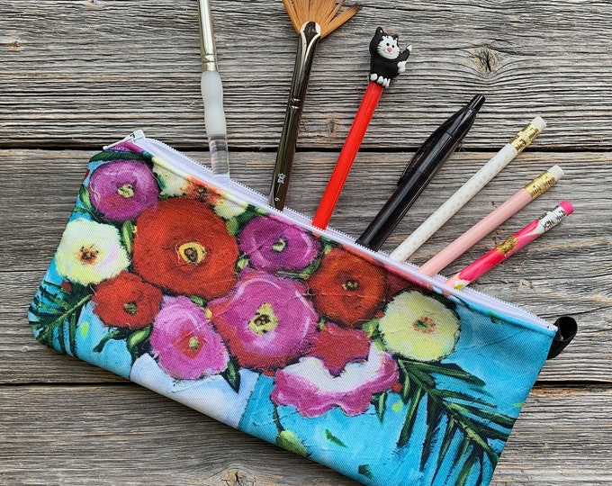 Pencil case, pink and red flowers, aqua background, Cosmetic bag - zipped makeup pouch cats - make up bag - storage bag - zipper bag