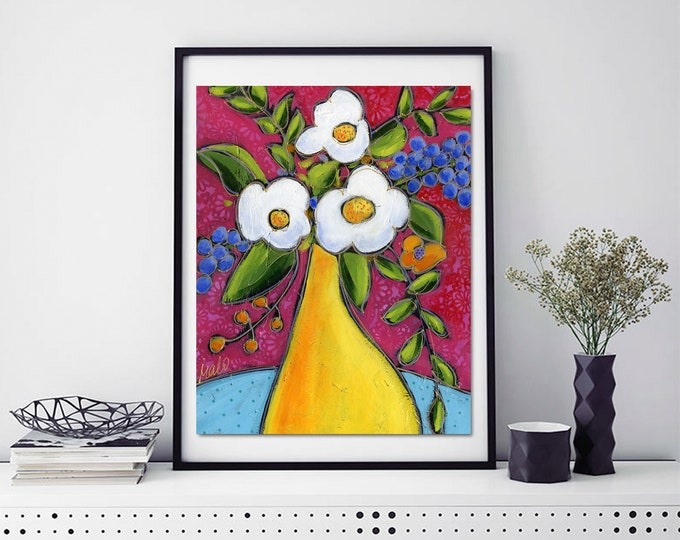Art print, yellow flowers vase, white flower, purple and orange flower, pear, pink background, home decoration, wall Art decoration