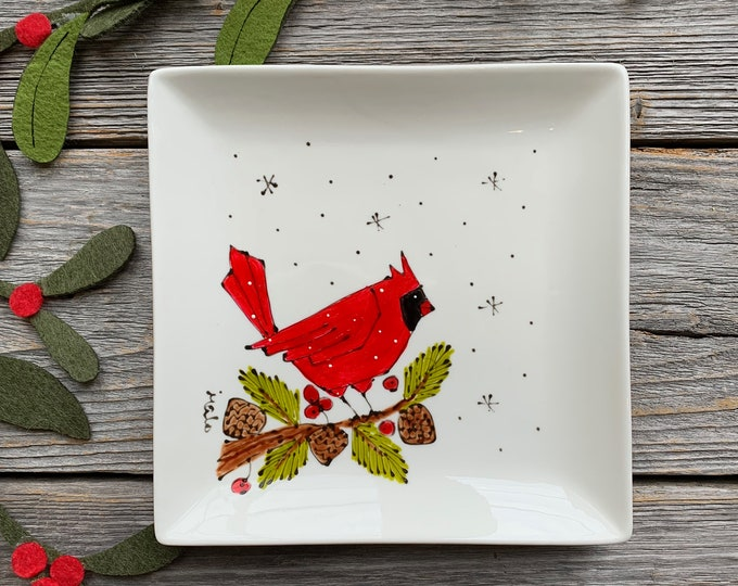 Small Square porcelain plate, bird red cardinal,  jewel tray, kitchen bird lover, unique gift, Christmas gift, Hand painted