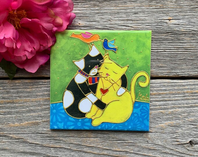 Ceramic tile coaster cat lover