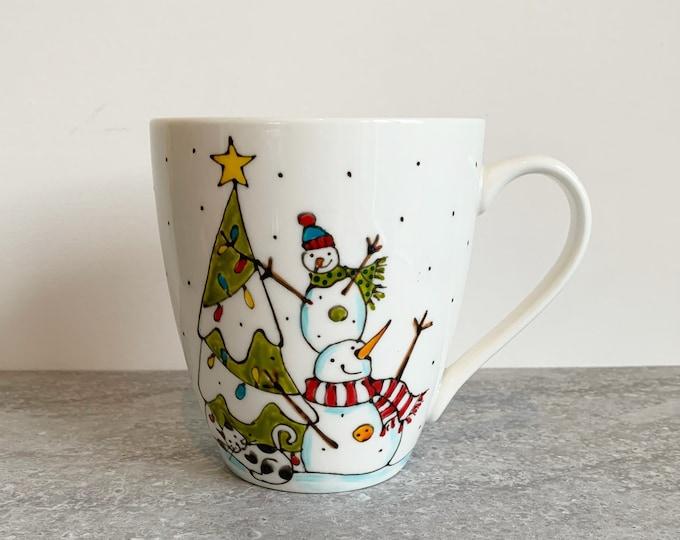 MUG, Coffee, 2 Snowman, Christmas tree, cat, Tea, tall Mug Porcelain, Unique gift, Hand painted