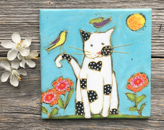 Cat ceramic tile, Coaster, CAT, White Cat, Trivet cat