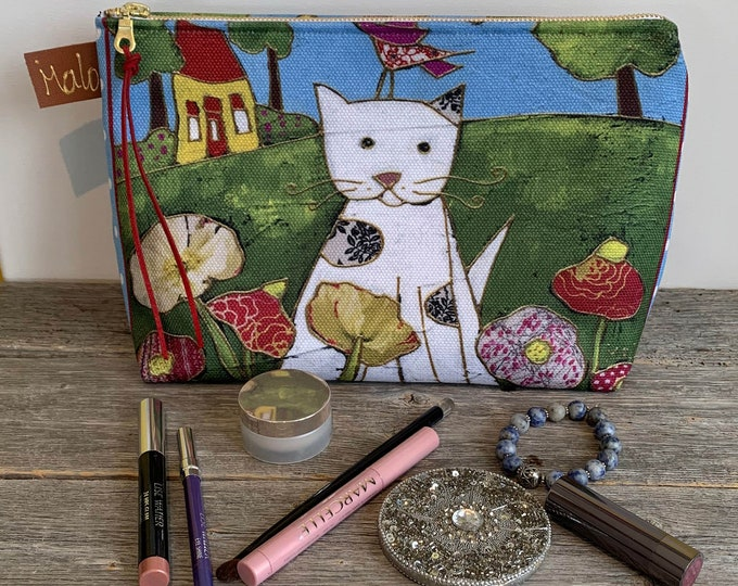 Large Cosmetic bag, Cat, flowers, cosmetic pouch, cosmetic lover case gift, Cat lover gift