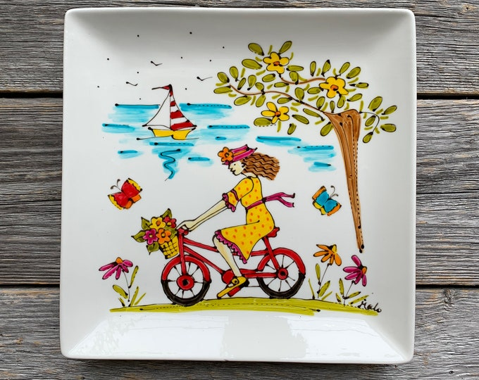 girl on red bicycle, Square porcelain plate, sailboat, butterfly, bicycle lover, unique gift, Hand painted
