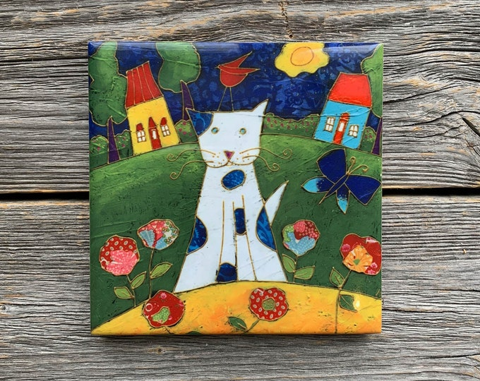 Ceramic tile Coaster, CAT, White Cat, flowers, Landscape, bird, square trivet, art print tile, cat lover gift, Wall art frame