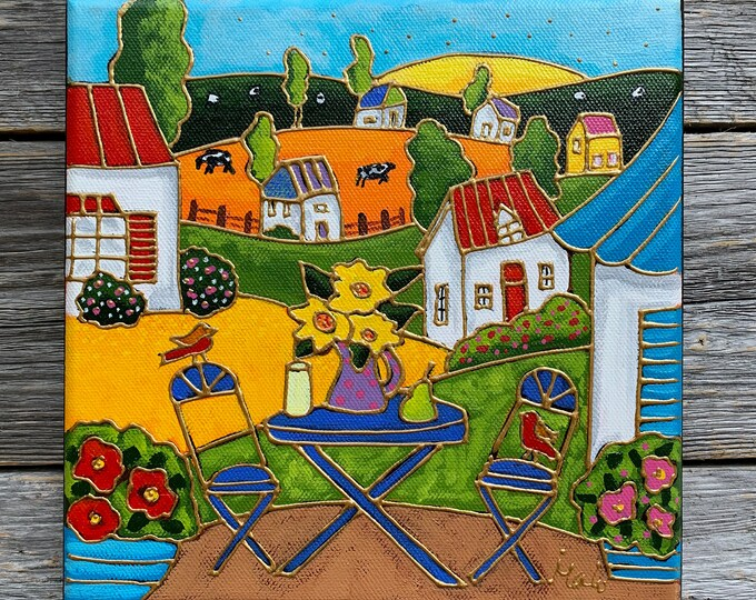 Original acrylic painting, colourful landscape, colourful houses, flowers, hand paint by artist Isabelle Malo