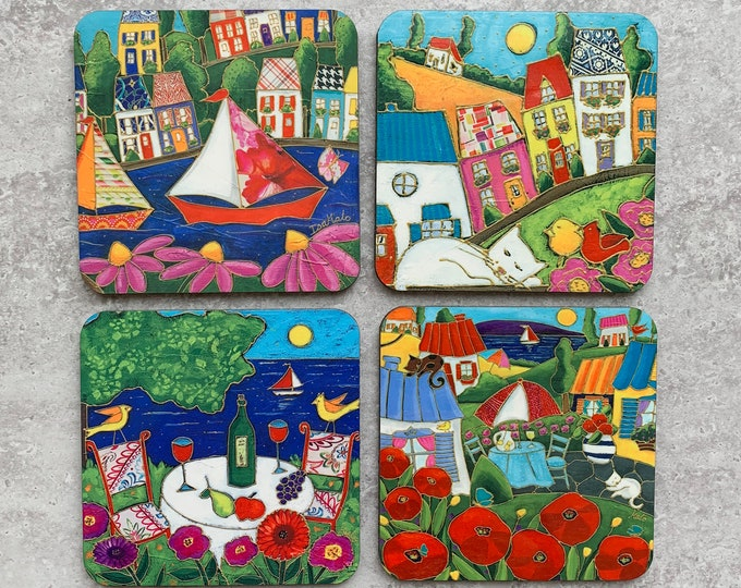 Set of Coasters colourful landscape cat sailboat