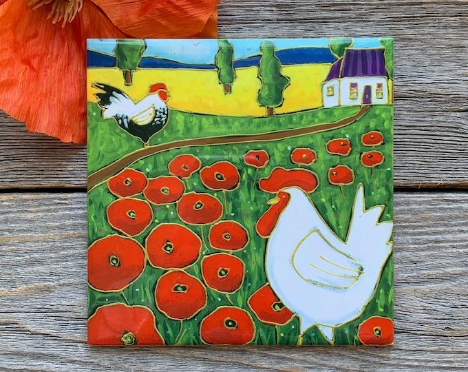 """Ceramic tile, two hens, Poppy, Country Landscape, houses, 6"""" x 6"""", square trivet, Art print ceramic"""