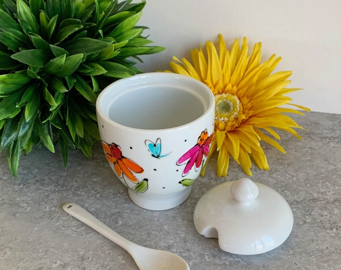 Small Porcelain for Honey, jam jar with lid and spoon, Pink, yellow and orange flowers, dragonfly, sugar jar, Unique gift, Hand painted