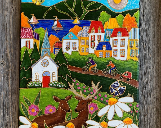 Original acrylic painting on canvas country town deer
