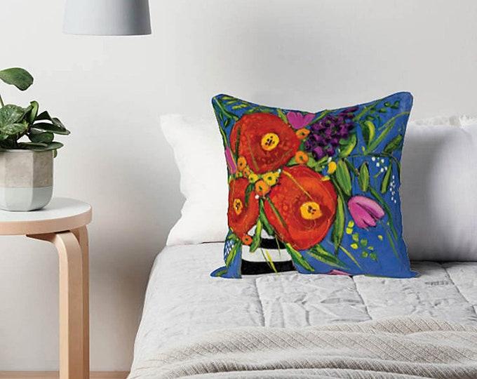 Pillow case, Velveteen, red flower, pink flowers, purple flower, blue background, home decoration gift, flower cushion gift