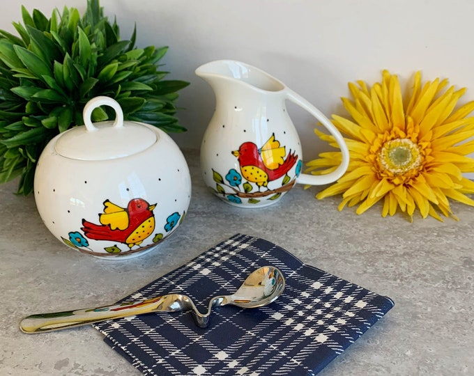 Set of creamer and sugar porcelain bowl hand painted bird