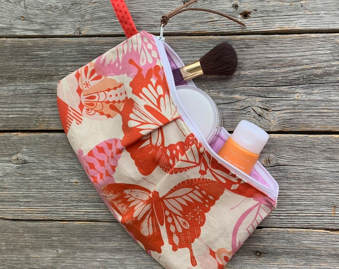 Cosmetic pouch, 100% cotton, Butterfly, orange, pink, beige, Zipper Carry-alls, storage bag, Hand made