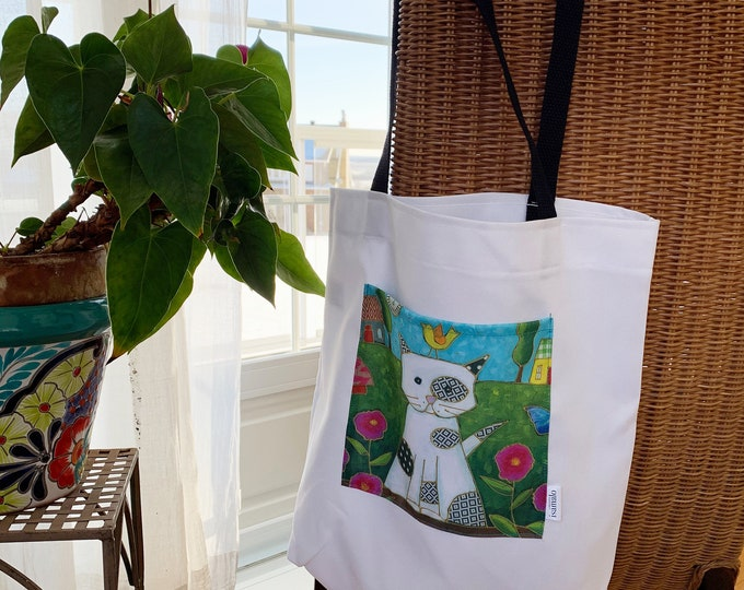 Tote bag with pocket shopping bag grocery bag recycle bag colourful cat