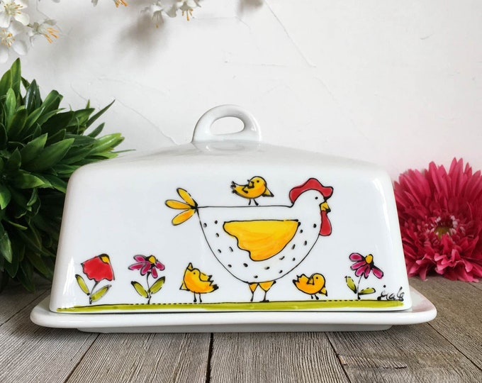Featured listing image: Chickens Covered butter Dish, ceramic,hand painted