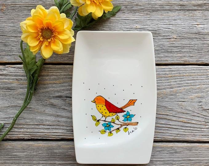 spoon holder bird flower small tray hand paint