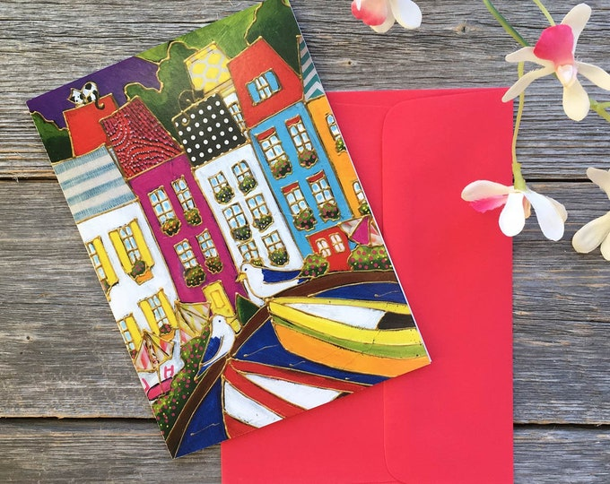 Greeting card - birthday card - Colourful houses and boat Italy, Cinque terre,  gift wishing card