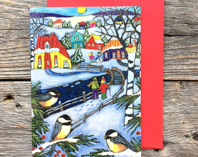 "Greeting card - three bird - winter scene- 5"" x 7"" - by artist Isabelle Malo"