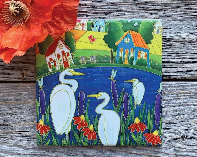 Ceramic tile wall Art, 3 white egret, Colourful houses, red and purple flowesr, square trivet, art square ceramic tile