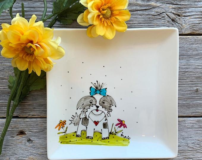 Shih Tzu Dog plate, Square porcelain plate, dessert plate, kitchen dog lover, unique gift, Hand painted