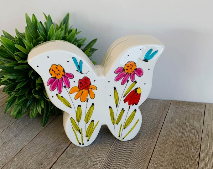 Moneybox porcelain butterfly form colourful flowers hand painted
