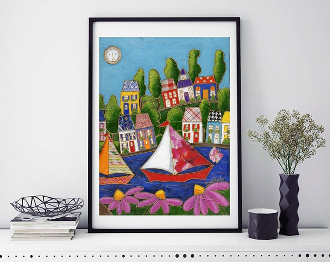 Colourful houses, Sailboat,  Art print, Wall art, home decoration, Unique design gift, wall Art decoration
