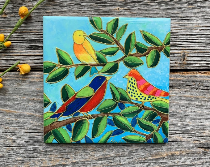 "Ceramic tile,  3 colourful birds on a tree, 4"" x 4"", bird lover gift, square trivet, Art print by Isabelle Malo"