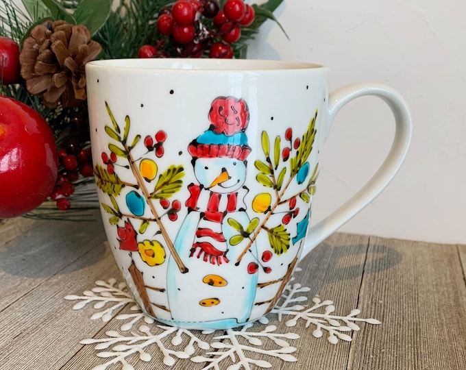MUG, Coffee, Snowman, bird, Tea, tall Mug Porcelain, Unique gift, Hand painted