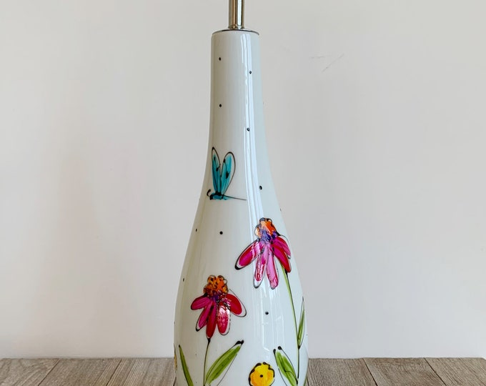 Olive oil Dispenser, Ceramic, pink, orange, yellow flowers, green leaf, vinegar, Maple sirop, Hand painted bottle