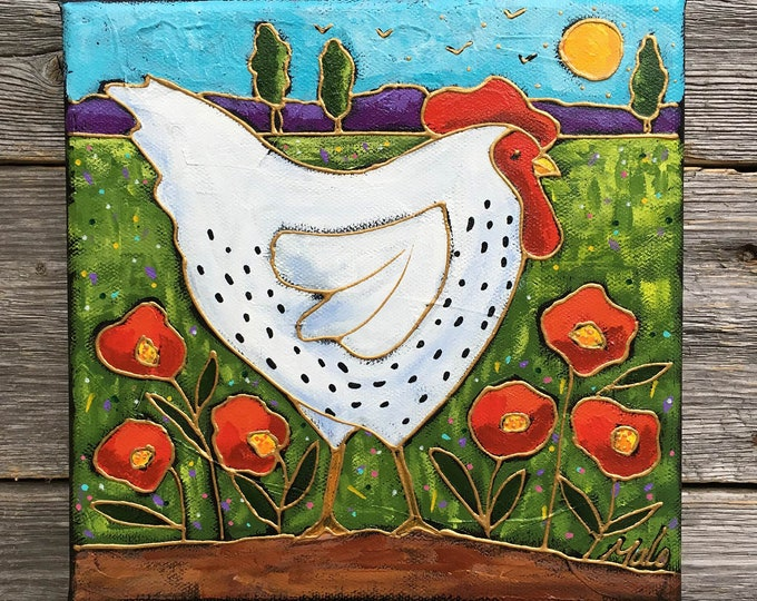 Original acrylic painting, Hen, colourful landscape, poppy flower, hand paint by artist Isabelle Malo