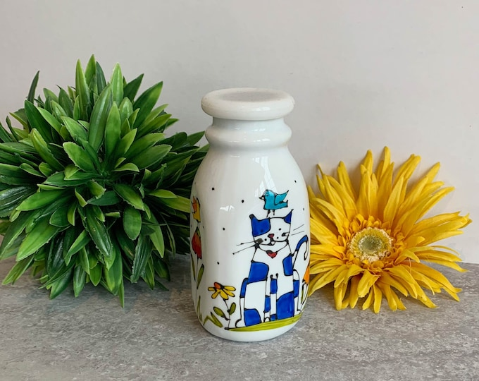 Creamer Vintage style white stoneware cat hand painted