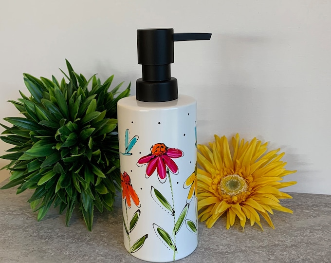 Flower soap dispenser, pump bottle, yellow, orange and pink flowers,  colourful flower, lotion dispenser, Hand painted