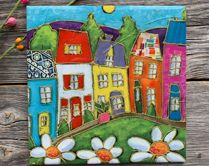 Ceramic tile wall Art, Colourful houses, daisy, square trivet, ceramic frame, wall art ceramic