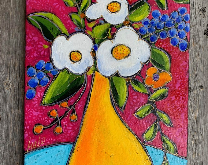 Original acrylic painting on canvas, white and purple flowers, yellow vase, pink background, home decor, mother's day gift