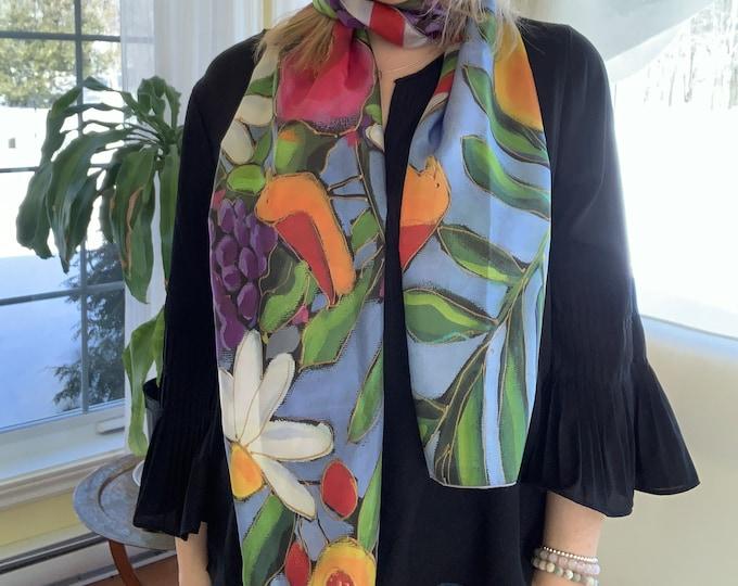 Long Habotai SILK scarf, pink, yellow, purple and white flowers, bird, blue background, woman silk scarf,  Colourful scarf, Art print scarf