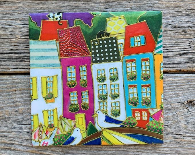 Ceramic tile wall Art, Colourful houses, bird, cat, square trivet, ceramic frame, art ceramic