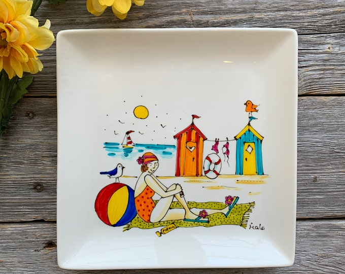 girl at the beach, Square porcelain plate, beach cabin, beach ball, sailboat, Sea and Beach lover, unique gift, Hand painted