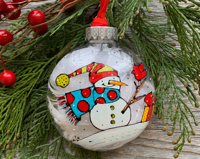 Hand paint, Christmas ball ornement, Snowman with a red dot scarf,  red bird, gift, Christmas ball, One of a kind, Christmas tree gift