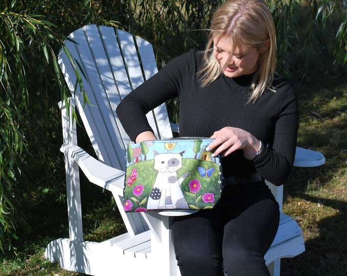 Large Cosmetic bag  - Cat - cosmetic pouch - cosmetic lover case gift, Cat lover gift