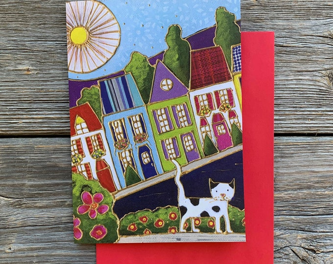 Greeting card, Colourful houses, cat, flowers, Sun, gift wishing card, birthday card, colourful gift card