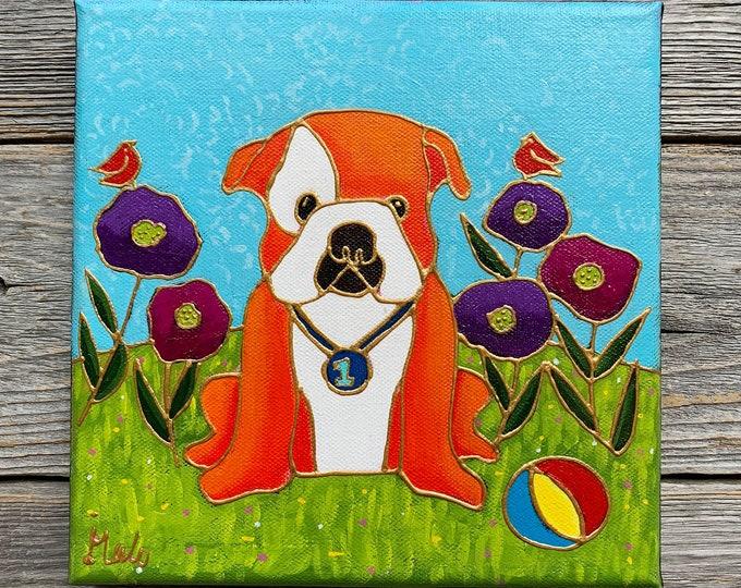 Original acrylic painting on canvas baby Bulldog