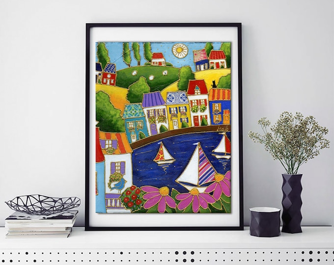 Poster wall decoration landscape colourful houses sailboat pink flower cat