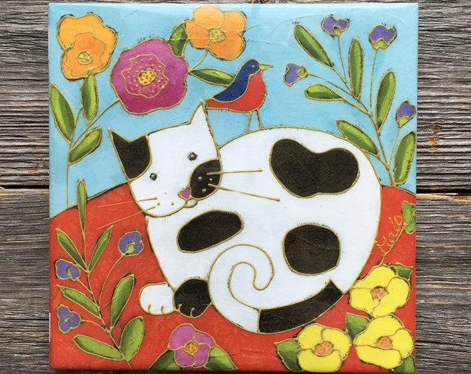 "Art print Ceramic tile, White and black, yellow, pink, orange flowers, , 6"" x 6"", Coaster, square trivet, Cat lover gift, ceramic frame"