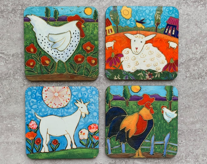 Coasters, 4 Set of Coasters, Countryside Landscape, rooster, sheep, hen, goat, gift coaster kitchen